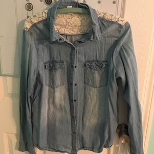 Forever 21 jean shirt with lace